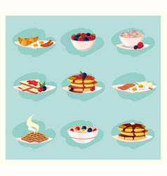 Set healthy breakfast nutrition food vector