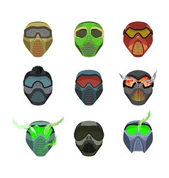 Set helmets and masks for sports Devilish horrible vector image