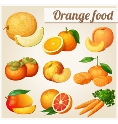 Set of cartoon food icons Orange food Melon vector image