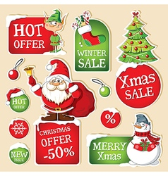 Set of Christmas price tags vector image