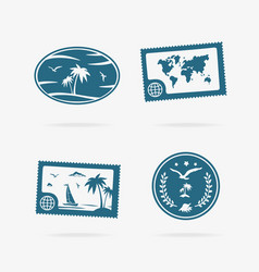 set of tropical vacation icons vector image