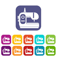 Sewing machine icons set vector