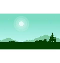 Silhouette of mountain with spruce landscape vector
