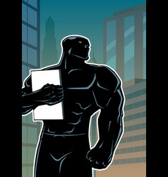 superhero holding book in city vertical silhouette vector image
