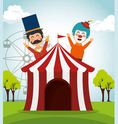 Tent circus with clown and presenter vector