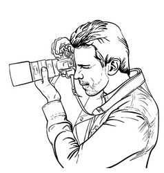 The photographer is at work black and white vector
