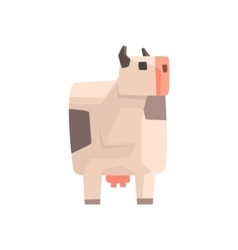 Toy Simple Geometric Farm White Spotted Cow vector