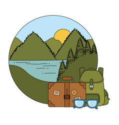 travel bag camping with suitcase vector image