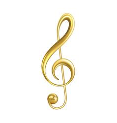 treble clef musical symbol golden color vector image