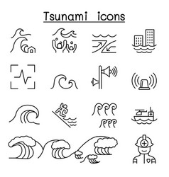 Tsunami storm icons set in thin line style vector