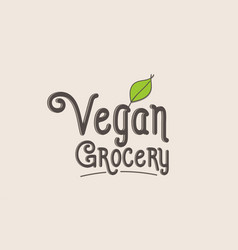 Vegan grocery word text typography design logo vector