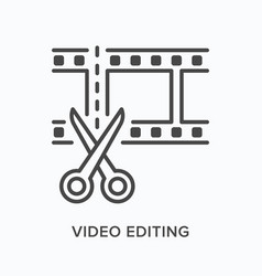 Video edit flat line icon outline vector