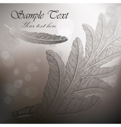 Vintage background with feathers on steel gray vector