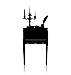 Vintage secretaire with a candelabrum inkwell and vector image