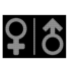 White halftone wc gender symbols icon vector