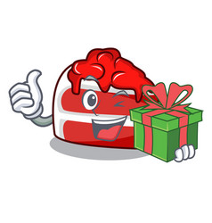 With gift red velvet mascot cartoon vector