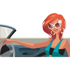 woman driving vector image