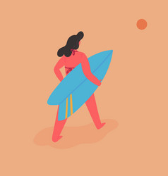 young woman goes for surfing in summer at vacation vector image
