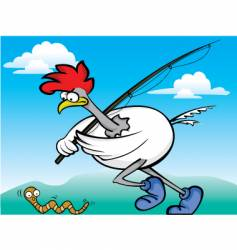 fishing rooster vector image
