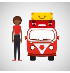 Girl curly hair vintage van camper suitcases vector