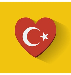 Heart-shaped icon with flag of Turkey vector image vector image