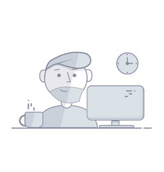 man sits in the night behind a computer vector image vector image