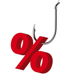 Percent sign on the hook Isolated vector image vector image