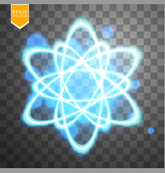 shining atom scheme isolated on black transparent vector image