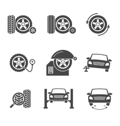 tire wheel service black icons set vector image