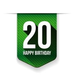 Twenty years happy birthday ribbon vector