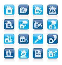 home risk and insurance icons vector image vector image