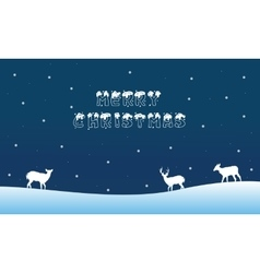 Merry Christmas landscape with deer winter vector image vector image