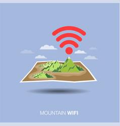 Mountain map wifi flat design icon vector