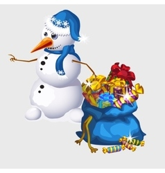 Snowman with a big blue bag of candy and gifts vector image vector image
