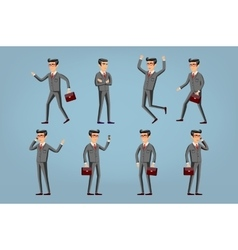businessman in a gray suit set Collection of vector image