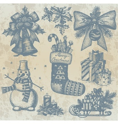 Christmas retro drawings by hand vector image vector image
