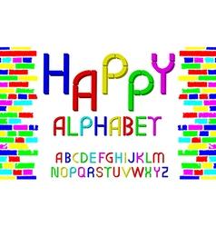 Decorative multicolor font Happy alphabet vector image