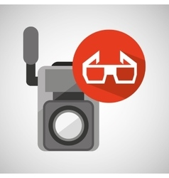 movie video camera 3d glasses icon vector image vector image