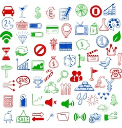 Set of sketch icons for site or mobile application vector image vector image