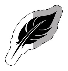dark contour feather icon stock vector image vector image