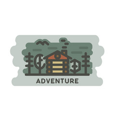 summer adventure landscape with wooden house in vector image