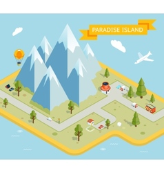 Travel banner Paradise island isometric flat map vector image vector image
