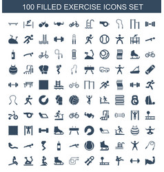 100 exercise icons vector