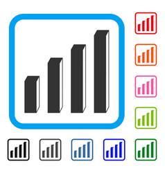 3d bar chart framed icon vector image