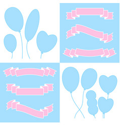 a set of ribbons of banners and balloons with vector image