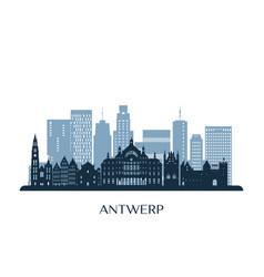 Antwerp skyline monochrome silhouette vector
