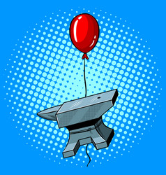 Anvil flying balloon pop art vector