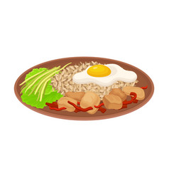 Appetizing thai food rice with scrambled egg vector