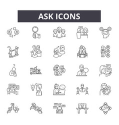 ask line icons signs set outline vector image