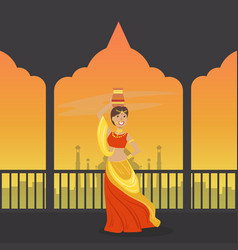 Beautiful indian woman in traditional sari on vector